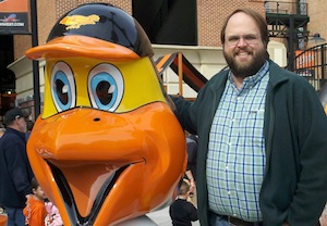 Mark Cornick with the Oriole Bird