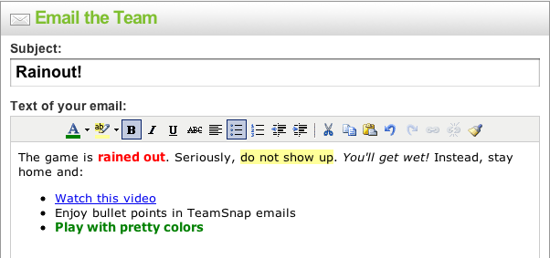 how to email your team on TeamSnap
