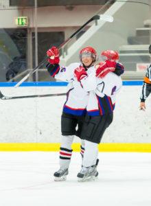 Hockey players celebrate