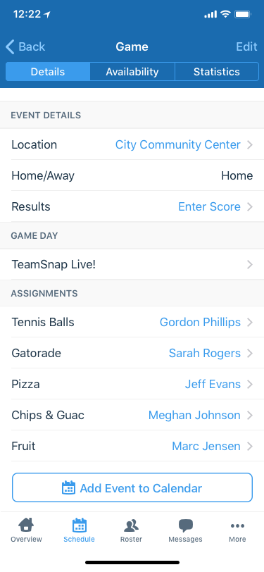 TeamSnap game details screenshot from the app