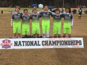 photo of a youth soccer team posed at the National Championships