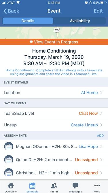 mobile screenshot of TeamSnap