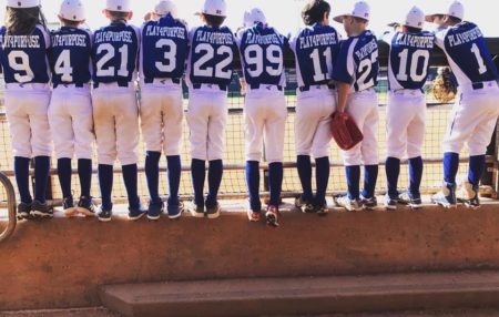team photo from behind of the Anthem Blues Baseball Team