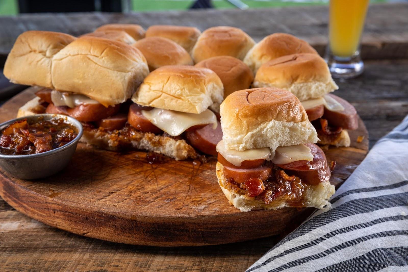 photo of sausage slider sandwiches
